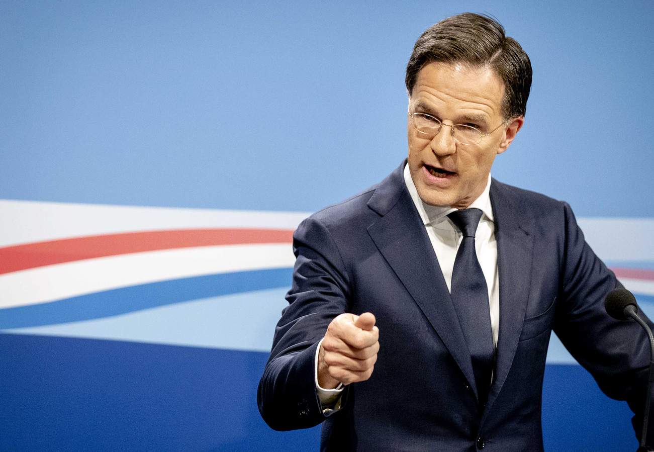 Premier Mark Rutte tijdens de persconferentie na de ministerraad.
