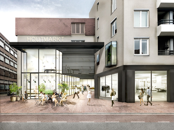 Artist impression van vernieuwde Houtmarkt-passage (Ingang gezien vanaf de Halstraat)