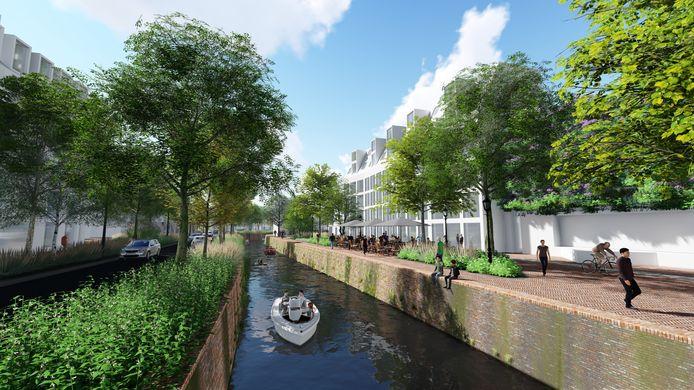 Een impressie van de hoe de groene kades langs de Nieuwe Mark in Breda er uit zouden kunnen gaan zien.