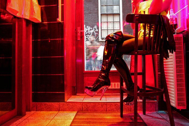 Een sekswerker op de Wallen. Beeld AFP