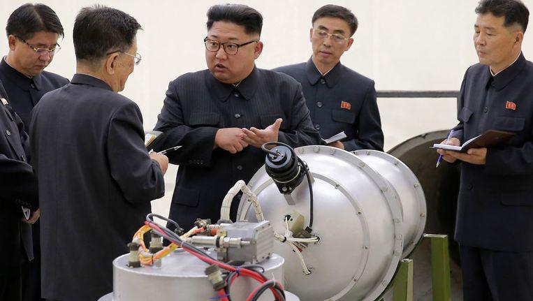 De Noord-Koreaanse leider Kim Jong-Un (centraal op de foto).
