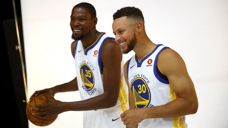 Kevin Durant en Stephen Curry van de Golden State Warriors