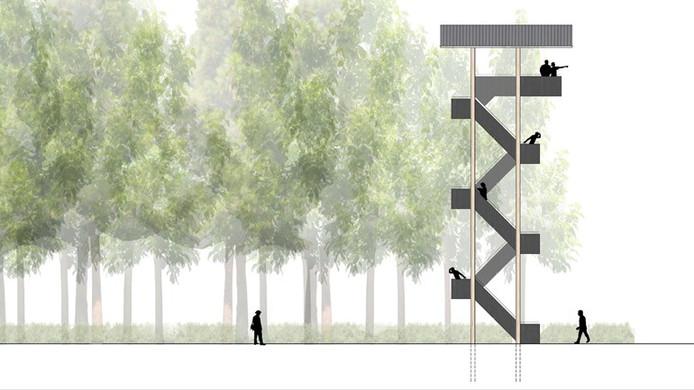 Artist impression van de in IJhorst te bouwen houten uitkijktoren.