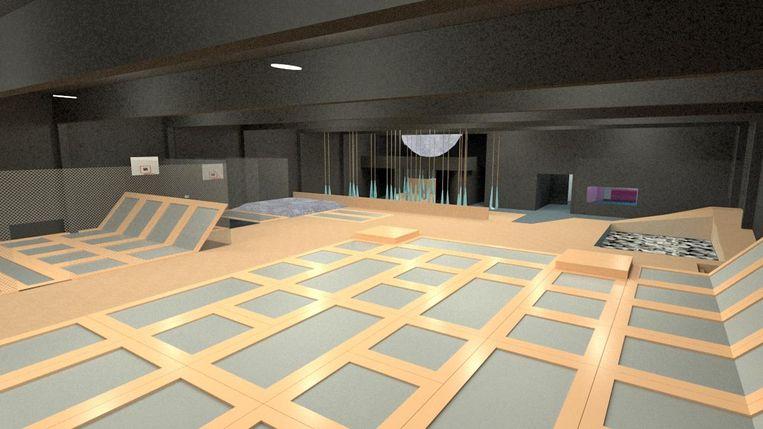 Een simulatiebeeld van Hangtime, het nieuwe trampolinepark dat rond kerst opent.