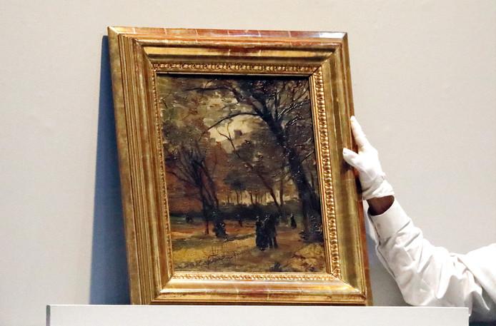 Het werk van Van Gogh, uit 1886, vannacht tijdens de veiling van Sotheby's in New York.