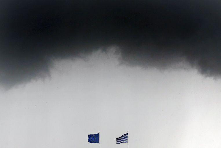 Onweerswolken boven Athene, afgelopen donderdag.
