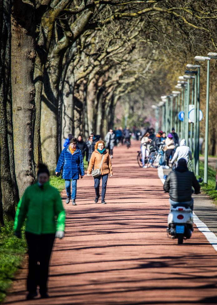 Minstens 1,5 meter afstand houden lukte lang niet altijd op de fietspaden in Dordrecht.