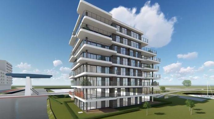 Impressie van het toekomstige appartementengebouw nabij de ringbrug.