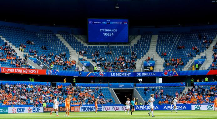 Het Stade Océane in Le Havre was vorige week nog niet eens voor de helft gevuld bij Nieuw-Zeeland - Nederland.