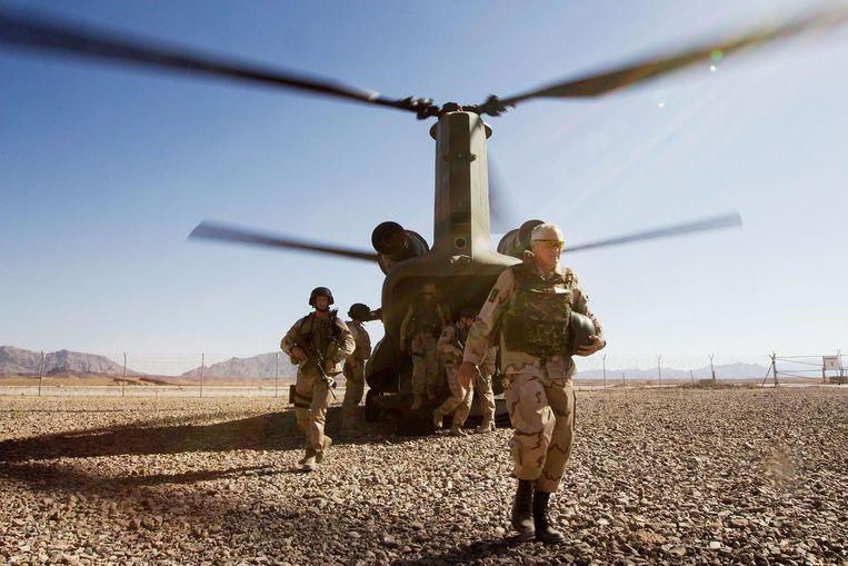 Militairen van de Nederlandse missie in Afghanistan. Beeld ANP