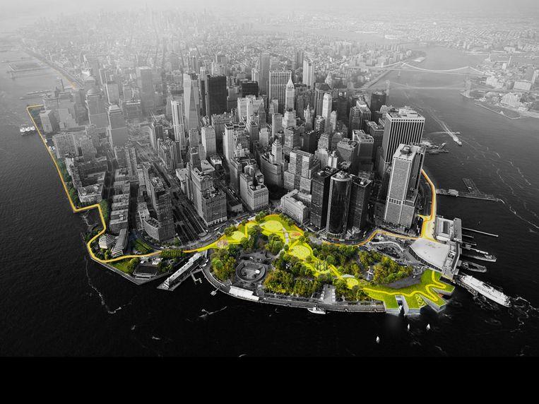 In oktober 2012 viel door orkaan Sandy de stroom uit in New York. Om te voorkomen dat dat door klimaatverandering nog een keer zou gebeuren, organiseerde de gemeente een ideeënwedstrijd. Een van de ideeën die worden uitgevoerd is de Big U: een plan voor dijken die in het bestaande landschap worden verwerkt. Beeld