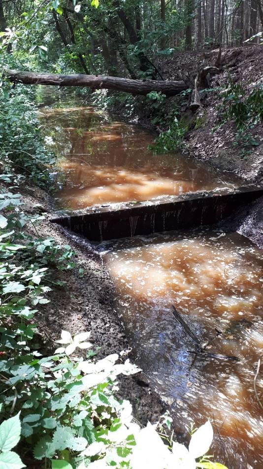 Watertekort bij een stuw in de Lactariabeek bij Overloon.