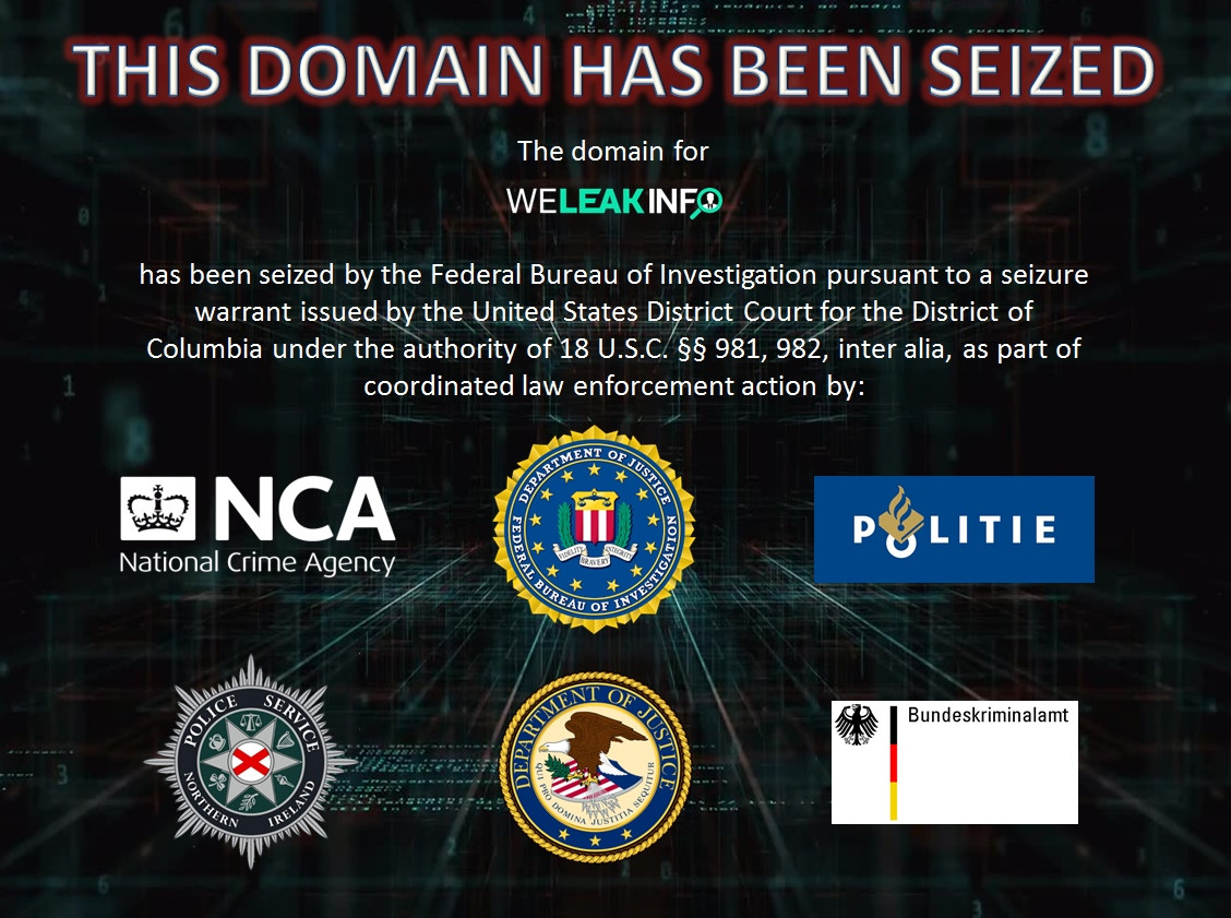 Het beeld dat nu verschijnt op WeLeakInfo.com.