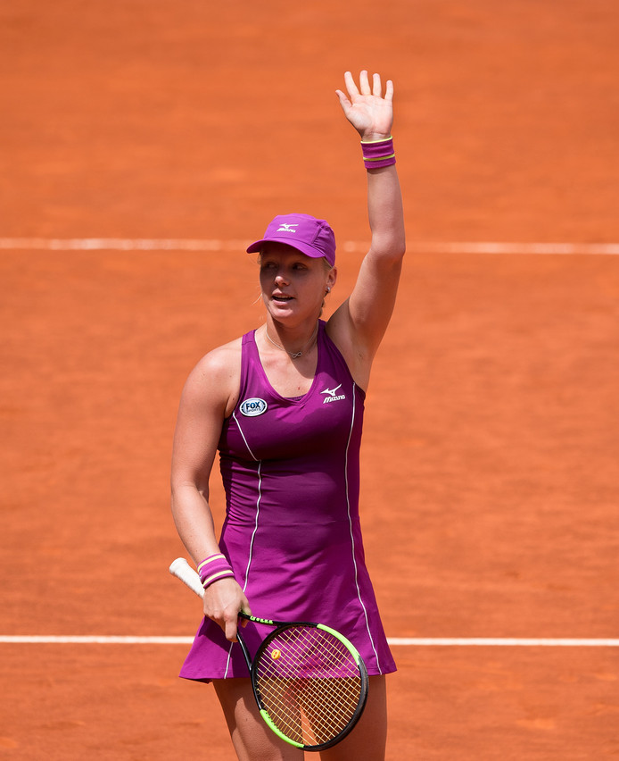 Kiki Bertens na haar zege op Caroline Wozniacki.