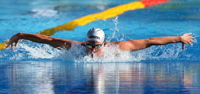 Inge Dekker in het zwembad van het Foro Italico in Rome in 2012.