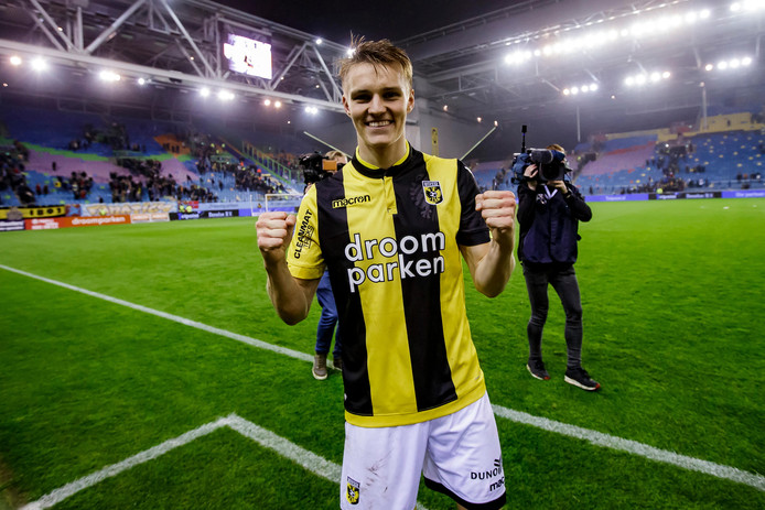 Uitblinker Martin Ødegaard van Vitesse na de gewonnen halve finale tegen FC Groningen, dinsdagavond in GelreDome.