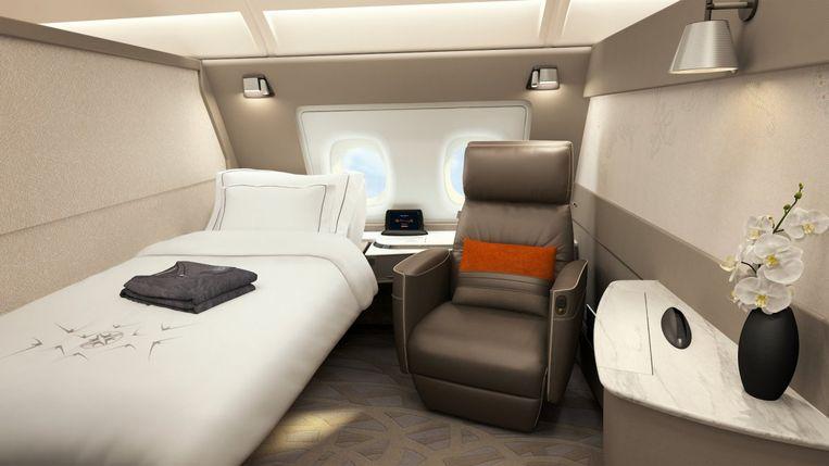 Een comfy bed in first class