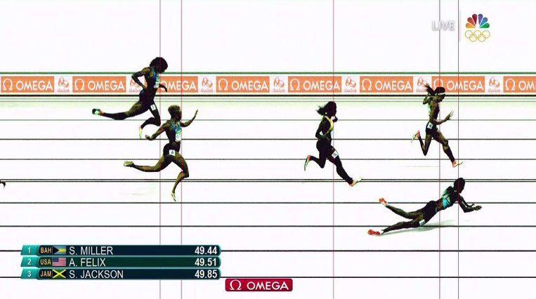 Finishfoto van de 400 meter, waarop de snoekduik van Miller goed zichtbaar is. Beeld Twitter CBS