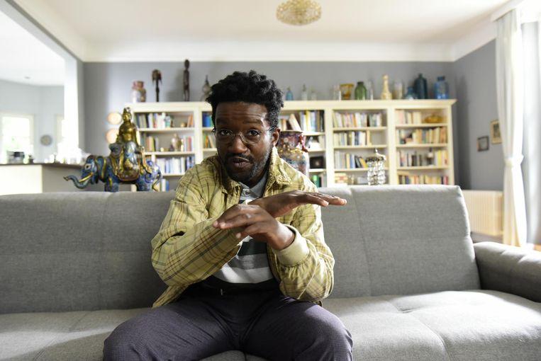 Eric Kabongo (32) op de set van de film 'Wilkommen bei den Hartmanns'.