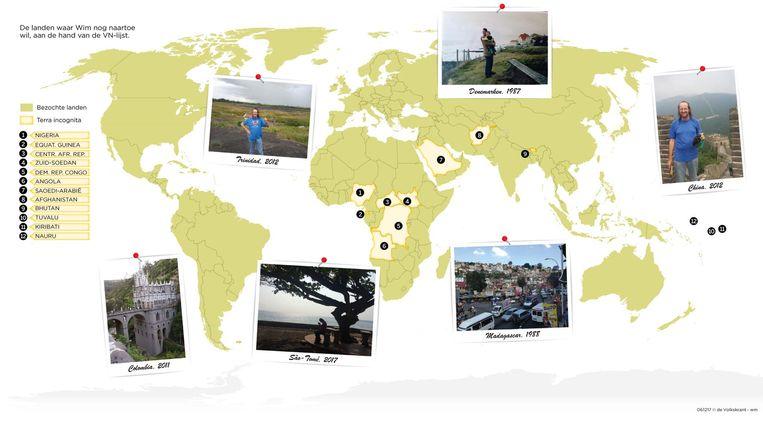 Wereldkaart met de landen waar Wim nog naartoe wil, aan de hand van de VN-lijst Beeld de Volkskrant