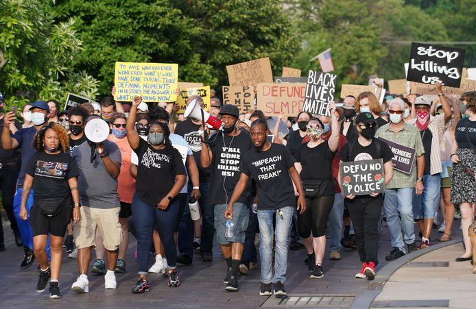 De vreedzame optocht in St. Louis  naar het huis van de burgemeester.