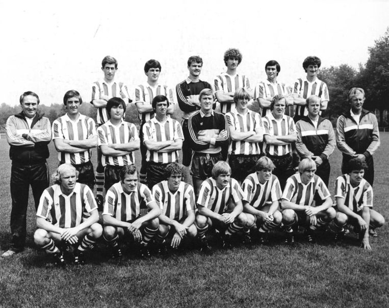 PSV-selectie in het seizoen 1981/1982. Boven v.l.n.r. Dijkstra Jansen, VD Meulen, Landsbergen, Stevens en Brandts. Midden vlnr: VD VSN, Van Kraay, Huh, VD Kuylen, Doesburg, Wildschut, Rene VD Kerkhof, Reker en Libregts. Onder vlnr: Geels, Willy vd K. Poortvliet, Thoressen, Koeman, Koster en Valke. Beeld anp