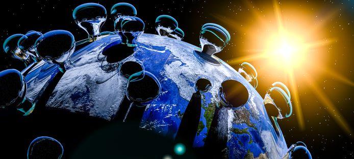Een illustratieve weergave van de wereld die gebukt gaat onder het coronavirus.