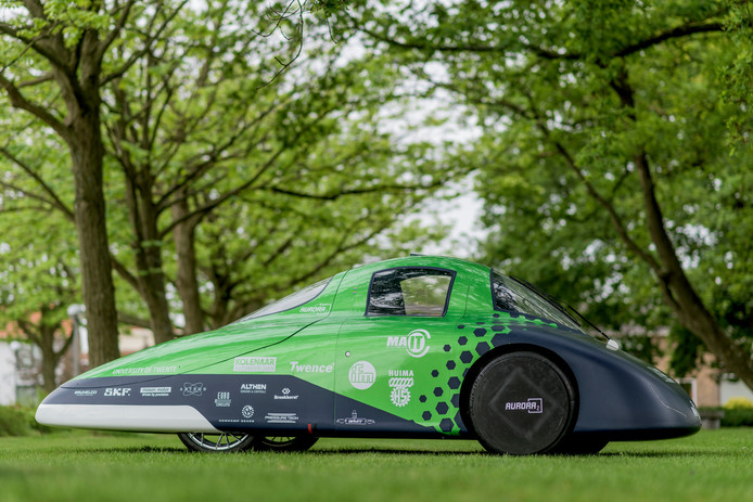 De waterstofauto Aurora 2 van het Green Team Twente.