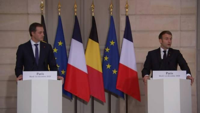 """Premier De Croo op werkbezoek bij Emmanuel Macron: """"Geen vaccinatiestrijd tussen landen"""""""