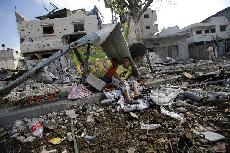 Verwoeste wijk in de Gazastrook. Beeld afp