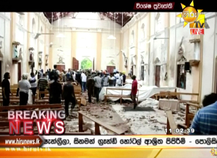 Een van de kerken op Sri Lanka waar tijdens de Paasmis explosieven ontploften.