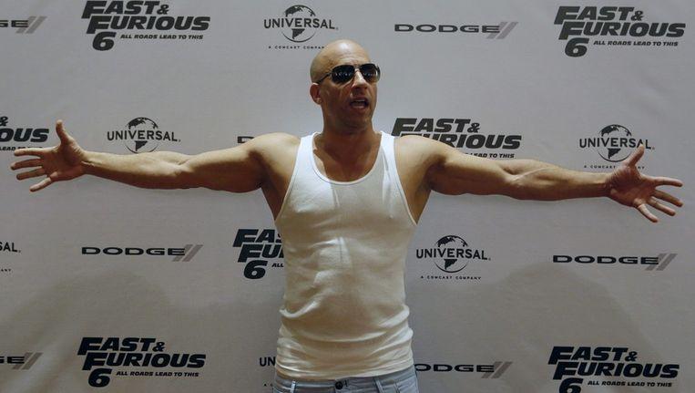 Acteur Vin Diesel bij een promotie van de film Fast & Furious 6. Hij zou vanwege zijn gespierde lichaam rollen zijn misgelopen, zei hij in het blad Men's Fitness. Beeld ANP