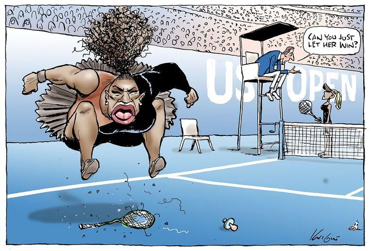 Serena Williams als 'boze zwarte vrouw' in deze cartoon in de Australische krant Herald Sun. Beeld AFP