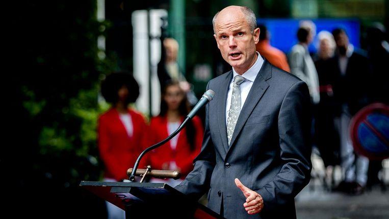 Stef Blok als minister van Veiligheid en Justitie tijdens de slavernijherdenking vorig jaar. Beeld ANP