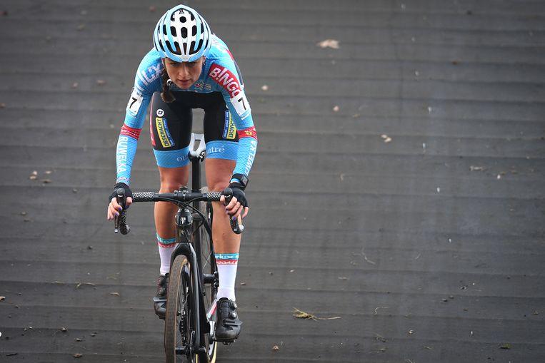 Denise Betsema in actie in het Belgische Wachtebeke, afgelopen zaterdag. Deze wedstrijd won ze. Beeld BELGA