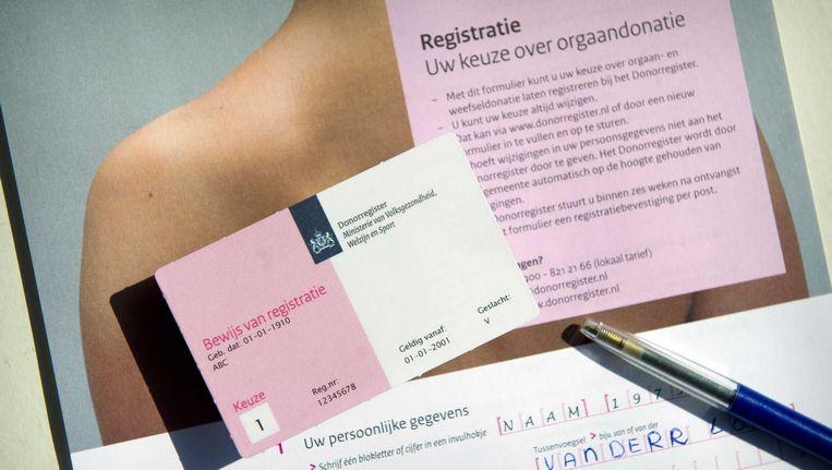 Het donorregistratieformulier. Beeld anp