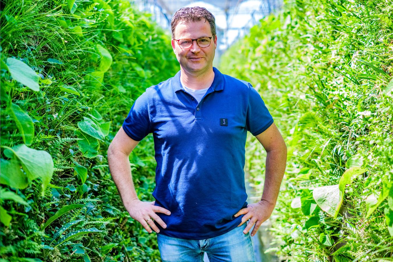 Christiaan Bakker van kwekerij Sempergreen in de kas in Harmelen. De groene muren worden na een half jaar aan gevels gemonteerd.
