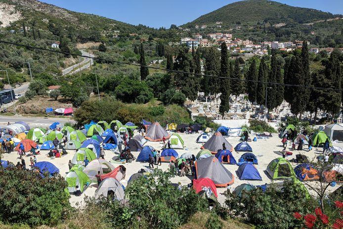 Het vluchtelingenkamp op Samos.