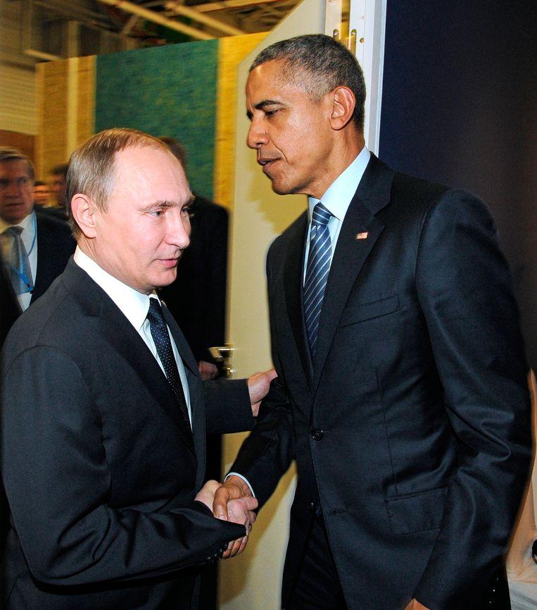 De Russische president Vladimir Poetin en zijn Amerikaanse collega Barack Obama.