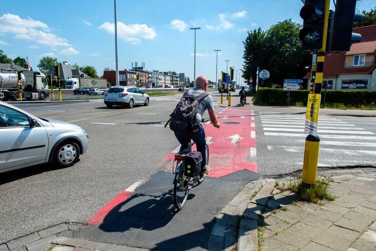 Een fietser op de fietspaden langs de A12/N177.