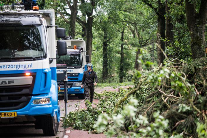 Het opruimen van stormschade op de Schietbergseweg, de weg naar de Posbank.