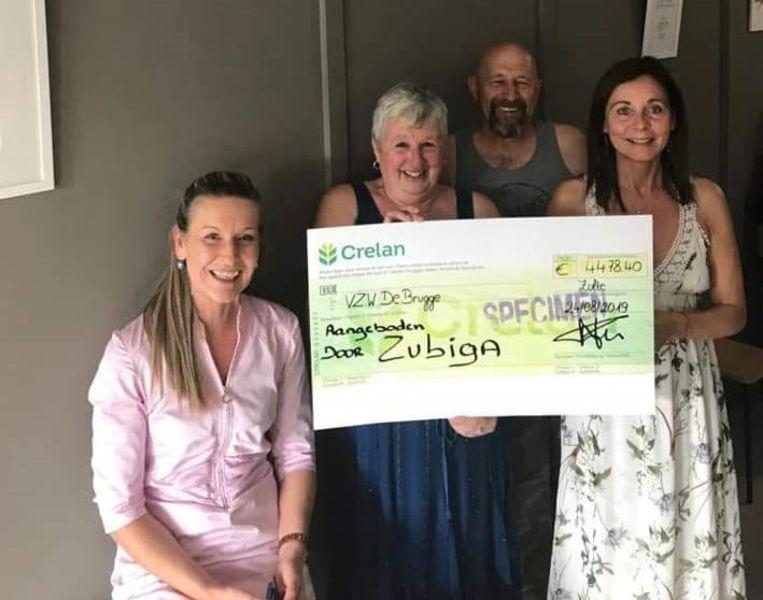 Zubiga schenkt 4.478 euro aan De Brugge.