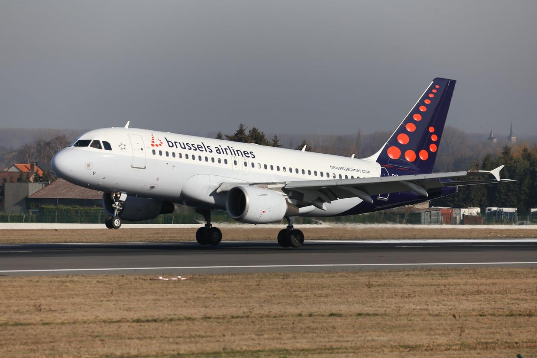 Een vliegtuig van Brussels Airlines op Zaventem.