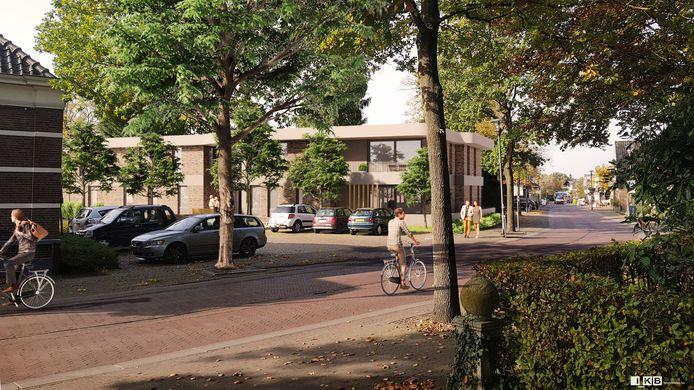 Deze artist impression laat zien hoe het geplande appartementencomplex aan de Dorpsstraat 19 in de omgeving past. In het dorp Hellendoorn is veel behoefte aan dit type koopwoningen voor senioren.