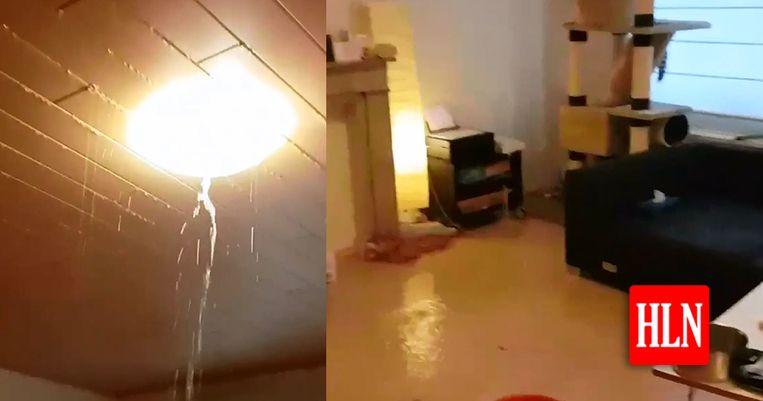 De woning aan de Leuvensesteenweg in Kortenberg kreeg het zwaar te verduren door de hevige regenval.