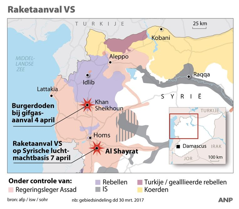 Raketaanval VS op Syrische basis bij Homs.  Beeld ANP