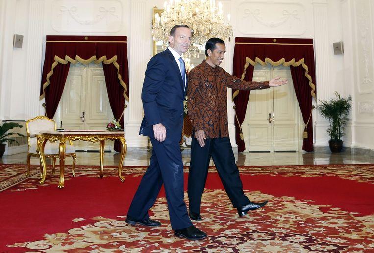 President Joko Widodo met de Australische premier, Tony Abbott Beeld null