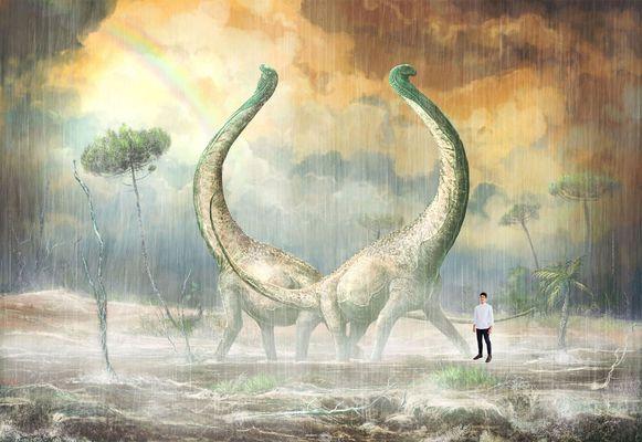 Een simulatie die een beeld moet geven van hoe groot de nieuwe dino eigenlijk was.