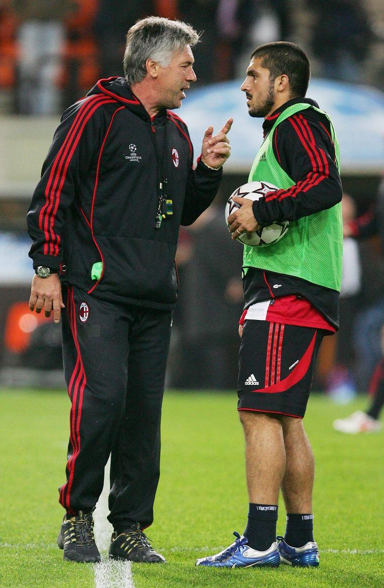 Ancelotti en Gattuso zes jaar geleden bij AC Milan.
