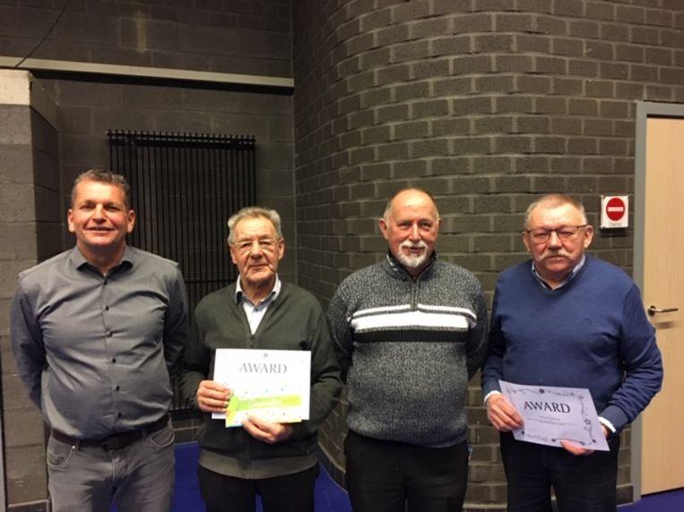 Dirk Snyers (schepen van Cultuur), Jef Clerckx, André Kint (voorzitter cultuurraad en PCV) en Richard Verboven.